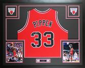 Scottie Pippen Autographed & Framed Red Chicago Bulls Jersey Auto PSA COA