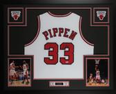 Scottie Pippen Autographed & Framed White Bulls Jersey Auto PSA COA  D7-L