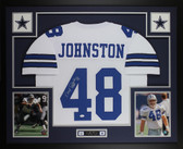 Daryl Johnston Autographed & Framed White Dallas Cowboys Jersey JSA COA