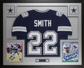 Emmitt Smith Autographed & Framed Blue Dallas Cowboys Jersey Beckett COA
