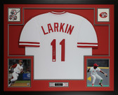 Barry Larkin Autographed and Framed White Cincinnati Reds Jersey Auto JSA Certified