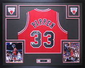 Scottie Pippen Autographed & Framed Red Bulls Jersey Auto JSA COA D8-L