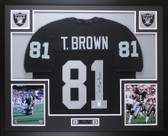 Tim Brown Autographed & Framed Black Raiders Jersey Auto PSA COA