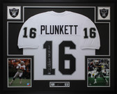 Jim Plunkett Autographed & Framed White Raiders Jersey Beckett COA