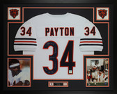 Walter Payton Autographed & Framed White Chicago Bears Jersey Auto PSA COA