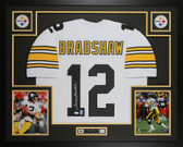 Terry Bradshaw Autographed & Framed White Pittsburgh Steelers Jersey Auto JSA COA