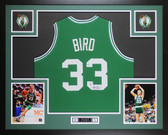 Larry Bird Autographed & Framed Green Boston Celtics Jersey Auto Beckett COA