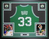 Larry Bird Autographed & Framed Green Boston Celtics Jersey Auto Beckett COA