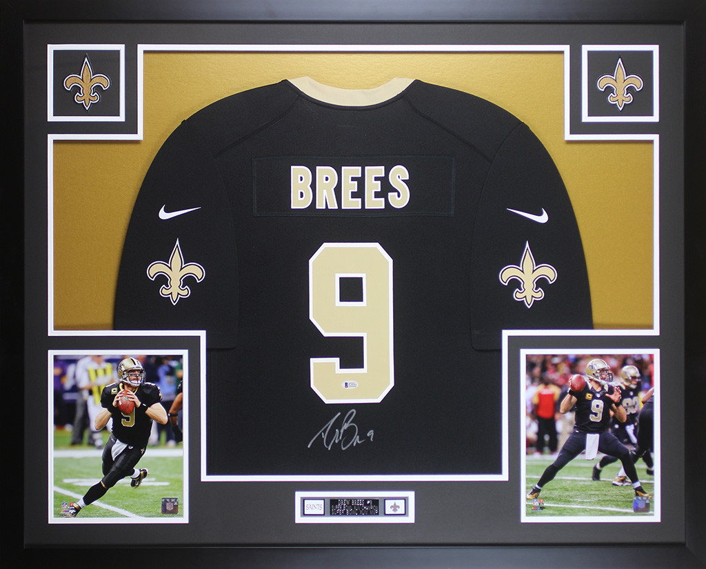 finest selection 4575f 1cfc7 Drew Brees Autographed and Framed Black New Orleans Saints ...