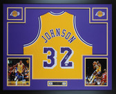 Magic Johnson Autographed & Framed Yellow Lakers Jersey JSA COA D11-L
