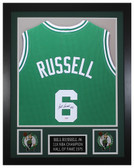 Bill Russell Autographed & Framed Green Boston Celtics Jersey JSA COA