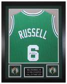 Bill Russell Autographed & Framed Green Boston Celtics Jersey JSA COA