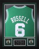 Bill Russell Autographed & Framed Green Celtics Jersey JSA COA