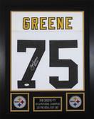 """Joe Greene Autographed """"HOF 87"""" & Framed White Pittsburgh Steelers Jersey JSA COA"""