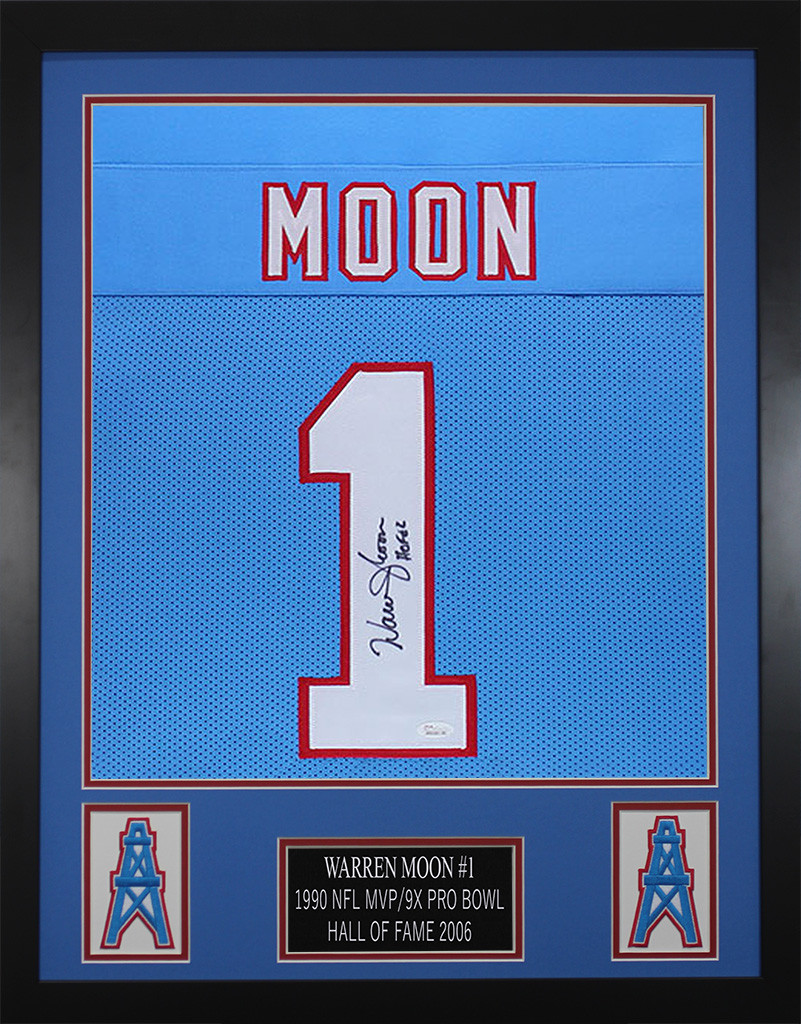 purchase cheap cfc50 44d25 Warren Moon Autographed and Framed Blue Houston Oilers Jersey