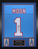 "Warren Moon Autographed ""HOF 06"" & Framed Blue Houston Oilers Jersey JSA COA"