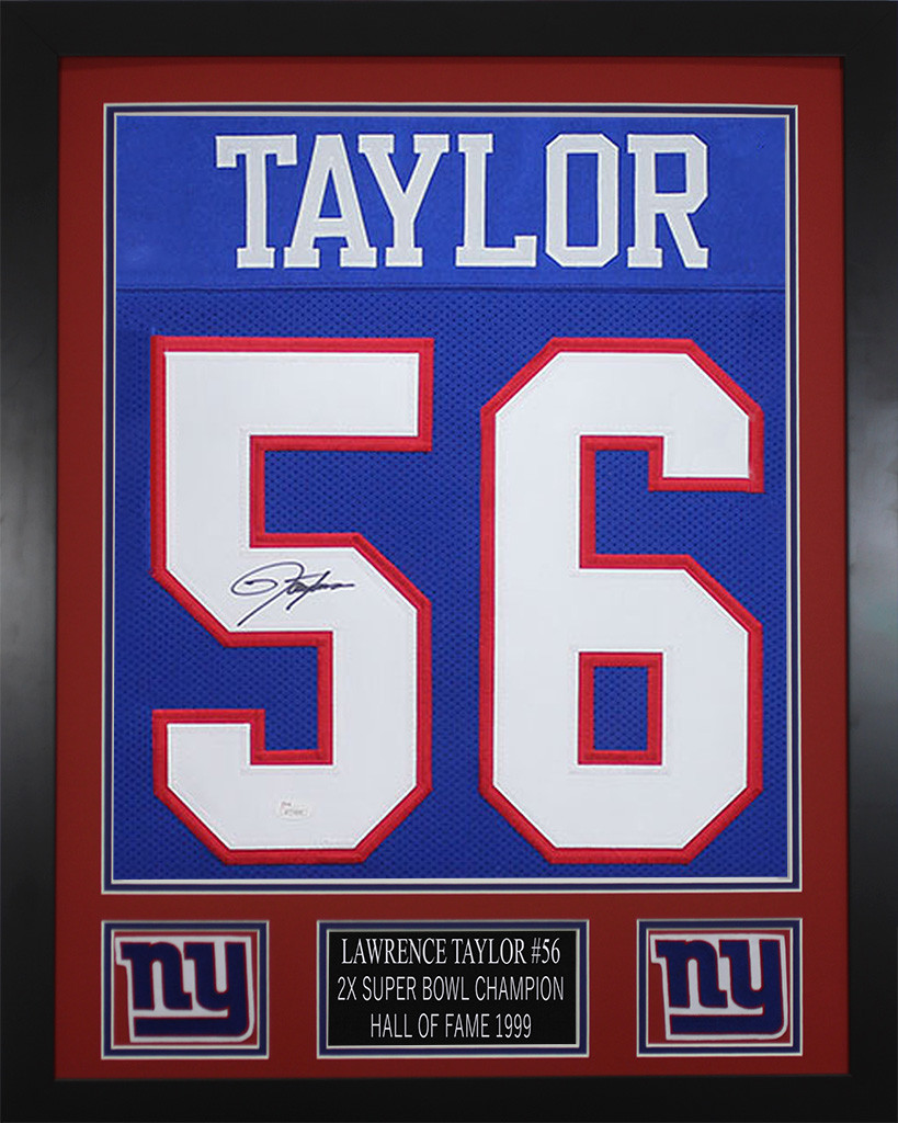 Lawrence Taylor Autographed and Framed Blue New York Giants Jersey