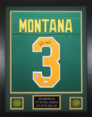 Joe Montana Autographed & Framed Green Notre Dame Fighting Irish Jersey JSA COA