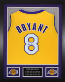 Kobe Bryant Autographed & Framed Gold Los Angeles Lakers Jersey PSA COA