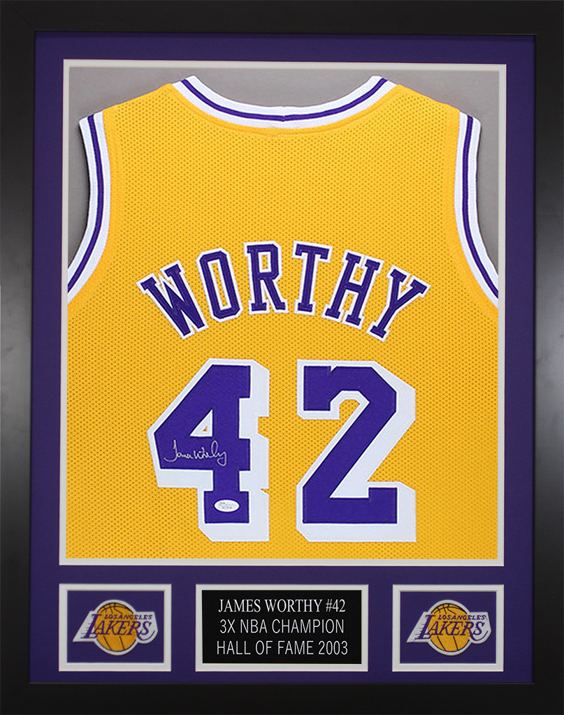 James Worthy Autographed and Framed Gold Los Angeles Lakers Jersey