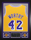 James Worthy Autographed & Framed Gold Los Angeles Lakers Jersey JSA COA