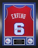 Julius Erving Autographed & Framed Red Philadelphia 76ers Jersey JSA COA