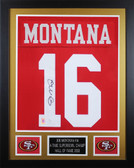 Joe Montana Autographed & Framed Red San Francisco 49ers Jersey JSA COA