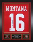 Joe Montana Autographed & Framed Red San Francisco San Francisco 49ers Jersey JSA COA