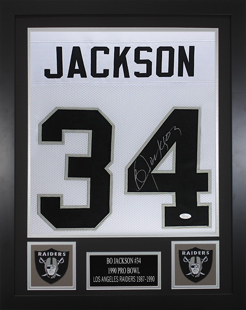 pretty nice 0ad9d 3527b Bo Jackson Autographed and Framed White Oakland Raiders Jersey
