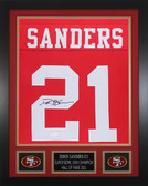Deion Sanders Autographed & Framed Red San Francisco 49ers Jersey JSA COA