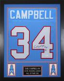 Earl Campbell Autographed & Framed Blue Houston Houston Oilers Jersey JSA COA