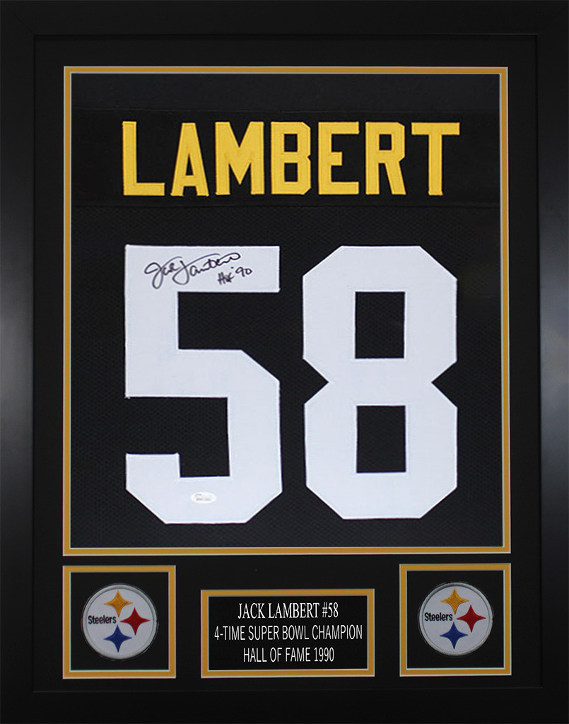 e6b19822ae0 Jack Lambert Autographed   Framed Black Pittsburgh Pittsburgh Steelers  Jersey JSA COA. Loading zoom