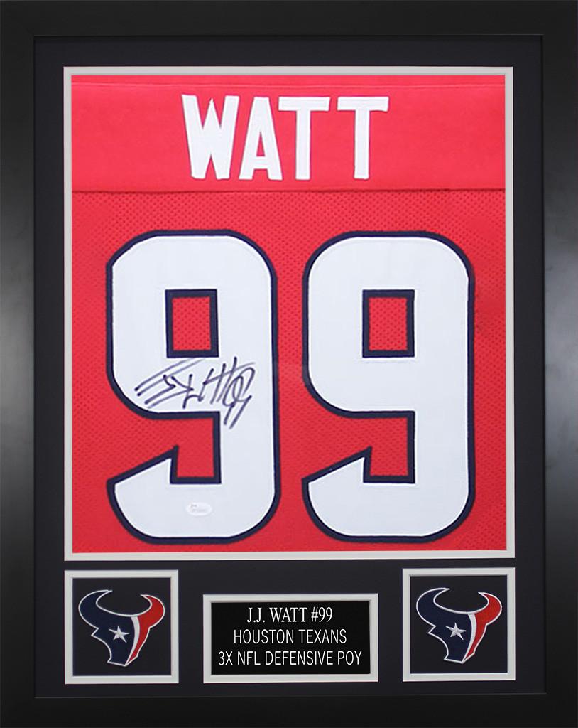 JJ Watt Autographed   Framed Red Houston Houston Texans Jersey JSA COA.  Loading zoom 674353d38