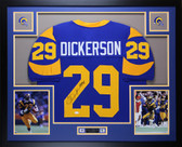 Eric Dickerson Autographed HOF 99 and Framed Blue Los Angeles Rams Jersey Auto JSA Certfied