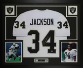 Bo Jackson Autographed & Framed White Raiders Jersey Auto Beckett COA