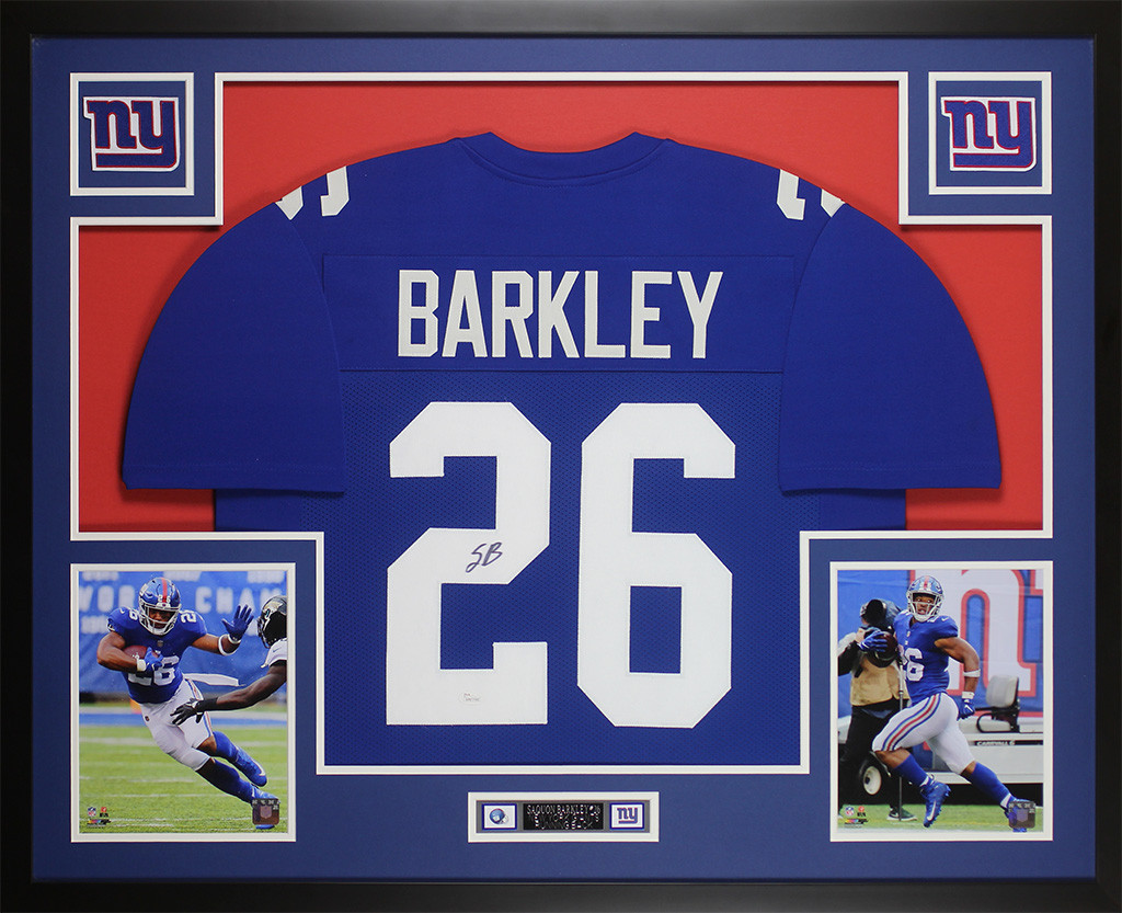 new product 06338 ad473 Saquon Barkley Autographed and Framed Blue Giants Jersey
