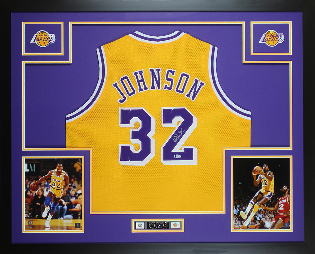 5ae4e2b87e0 Magic Johnson Autographed   Framed Yellow Lakers Jersey Auto Beckett COA.  Loading zoom