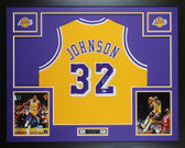 Magic Johnson Autographed & Framed Yellow Lakers Jersey Auto Beckett COA
