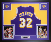 Magic Johnson Autographed & Framed Purple Lakers Jersey Auto Beckett COA