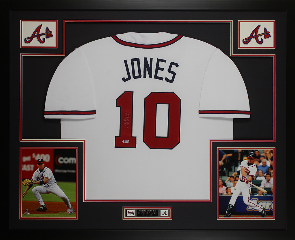 low priced 3b3d9 1d306 Chipper Jones Autographed and Framed White Braves Jersey