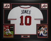 Chipper Jones Autographed and Framed White Braves Jersey Auto Beckett COA