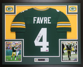 Brett Favre Autographed and Framed Green Packers Jersey Auto JSA COA