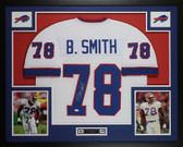 Bruce Smith Autographed and Framed White Buffalo Bills Jersey Auto JSA COA
