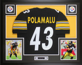 Troy Polamalu Autographed & Framed Black Pittsburgh Steelers Jersey Auto Beckett COA