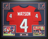 Deshaun Watson Autographed & Framed Houston Texans Red Jersey Auto JSA COA
