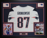 Rob Gronkowski Autographed & Framed Patriots White Jersey Auto Steiner COA
