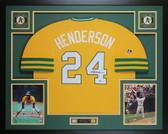 Rickey Henderson Autographed & Framed Oakland A's Jersey Auto Beckett COA
