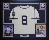 Yogi Berra Autographed & Framed Yankees Cream Jersey Auto JSA COA