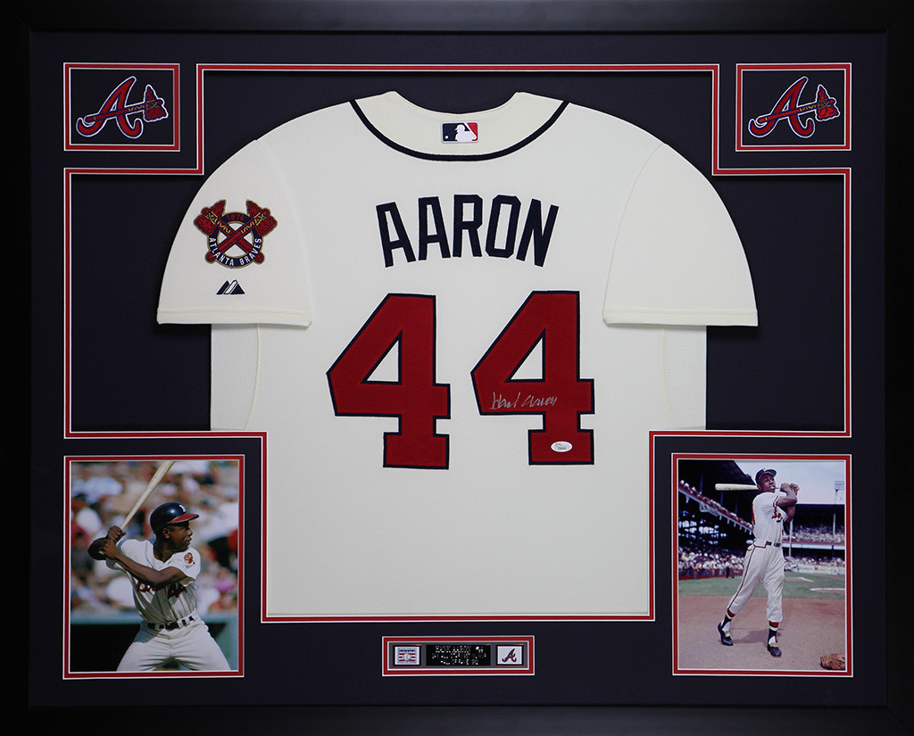 online store 77e25 cf8b9 Hank Aaron Autographed and Framed Cream Atlanta Braves Jersey