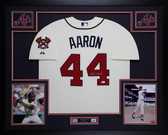 Hank Aaron Autographed & Framed Braves Cream Jersey Auto JSA COA